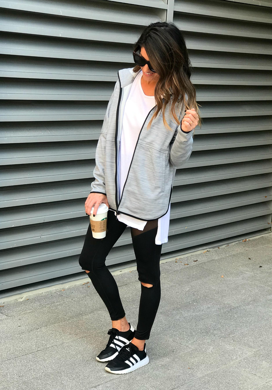 Athleisure wear, leggings, sneakers
