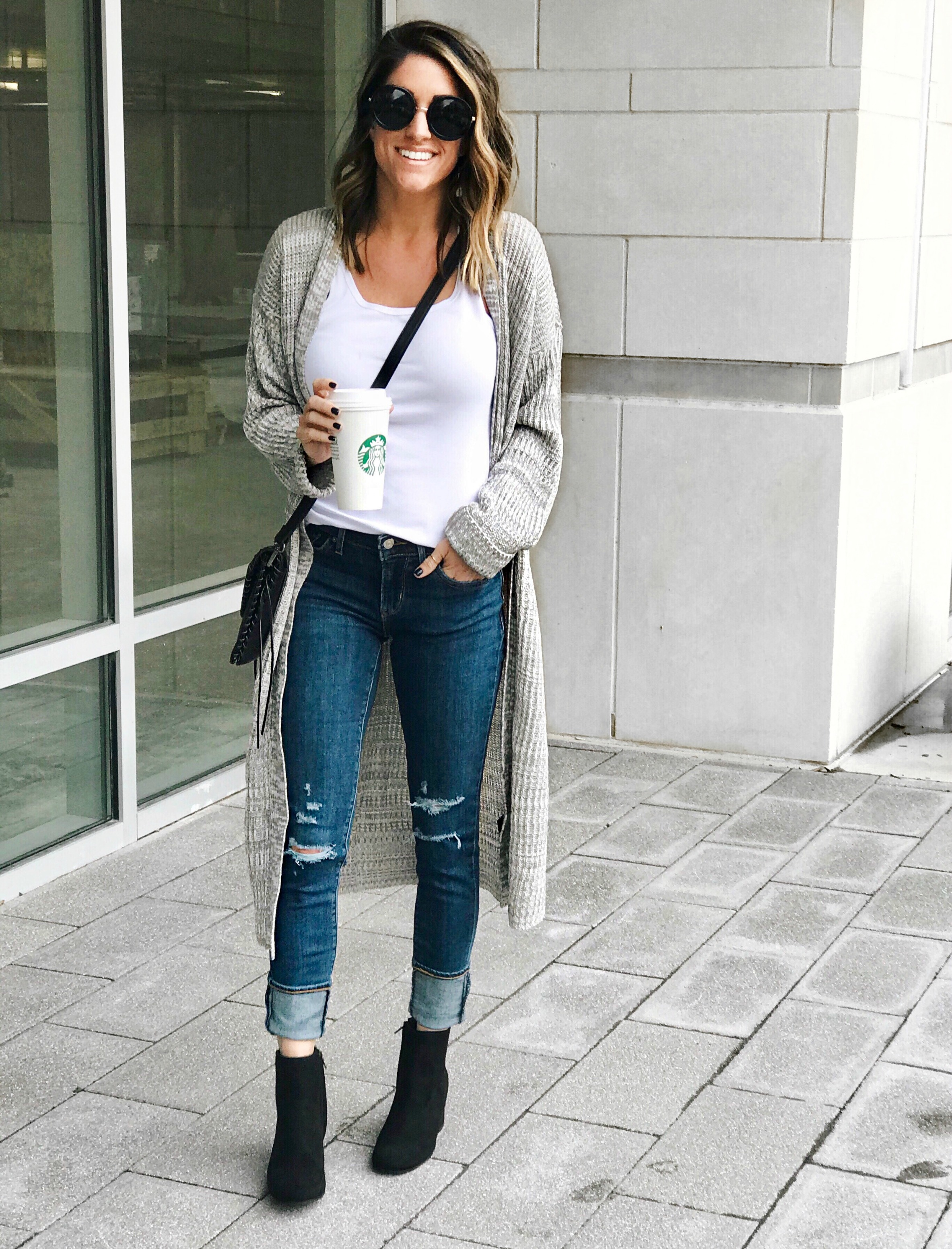 Jeans, cardigan, booties, fall style
