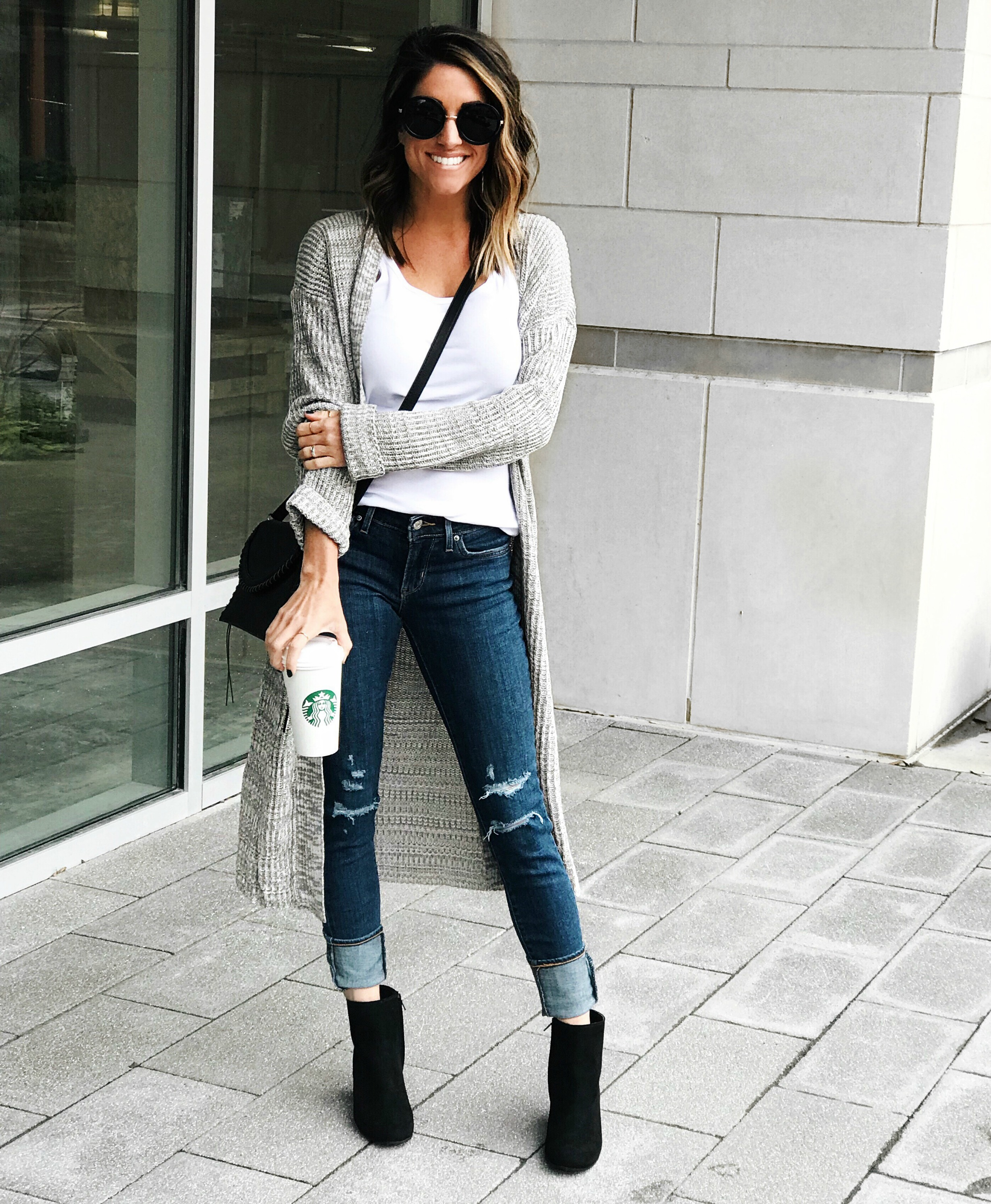 Jeans, cardigan, fall style