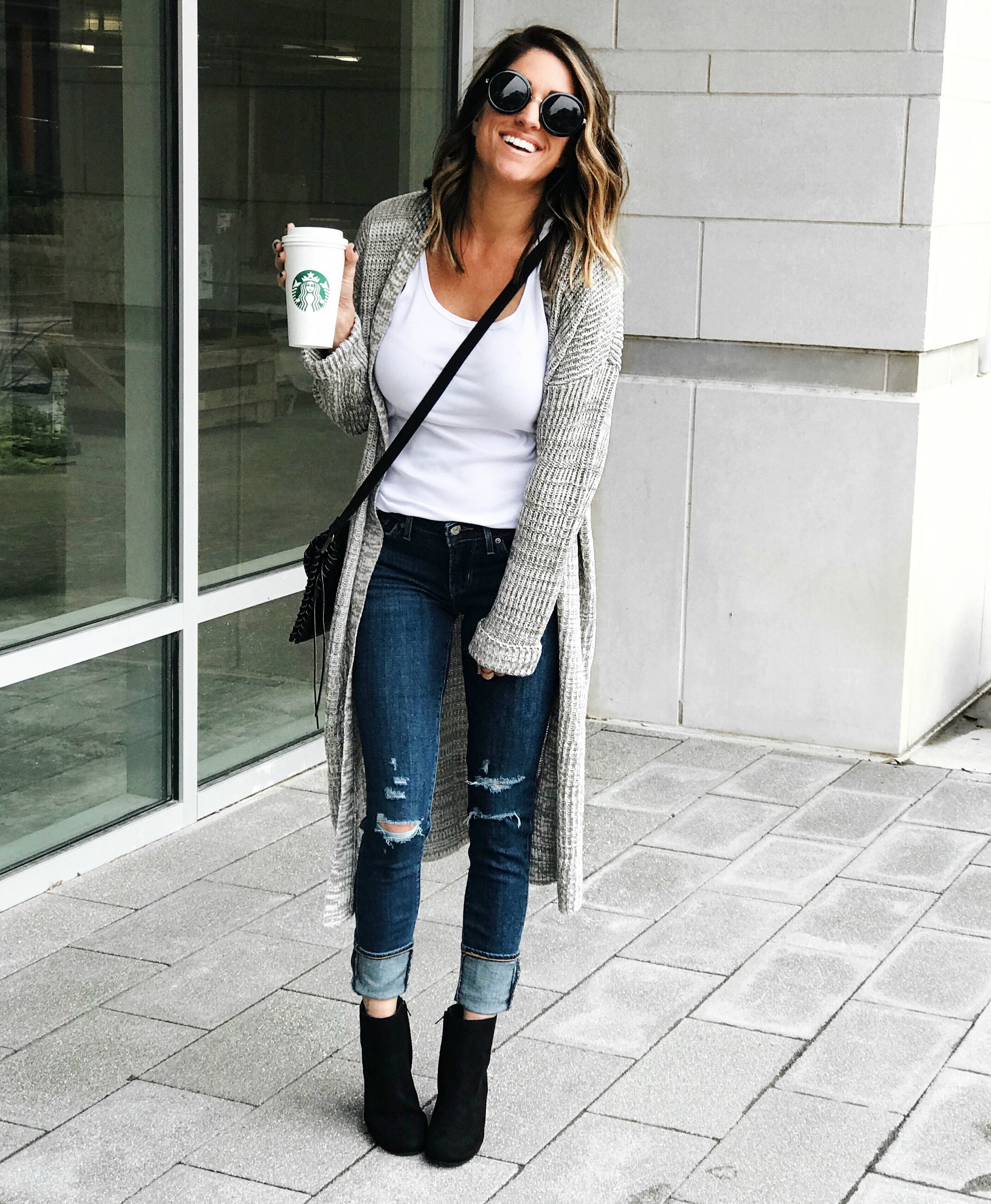 Cardigan, jeans, fall outfit