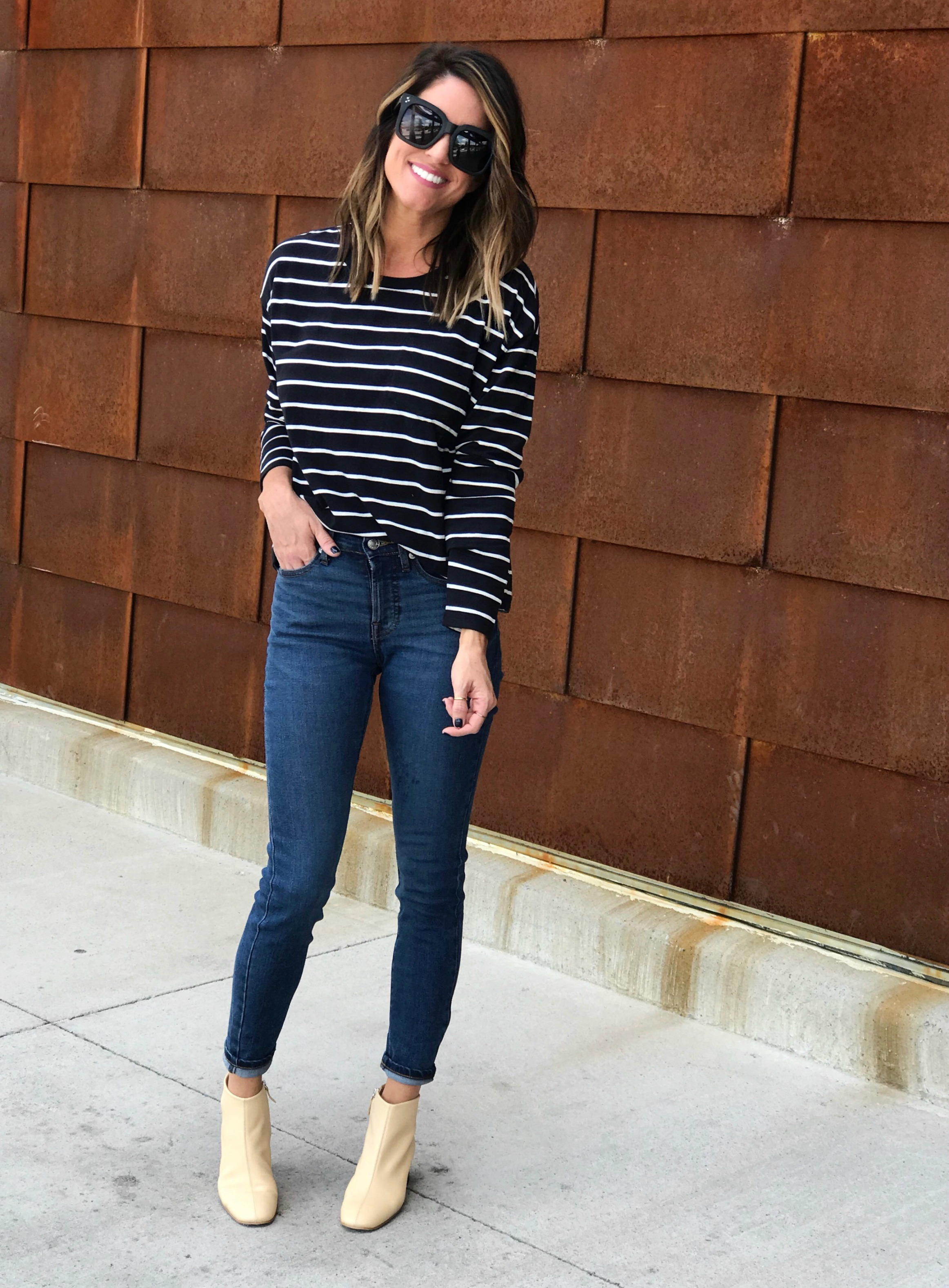 ce97c0babc The jeans I'm wearing are the Authentic Stretch Mid-Rise Skinny Ankle Jeans.  They are INSANELY comfortable! I am wearing the dark wash, but if you don't  ...