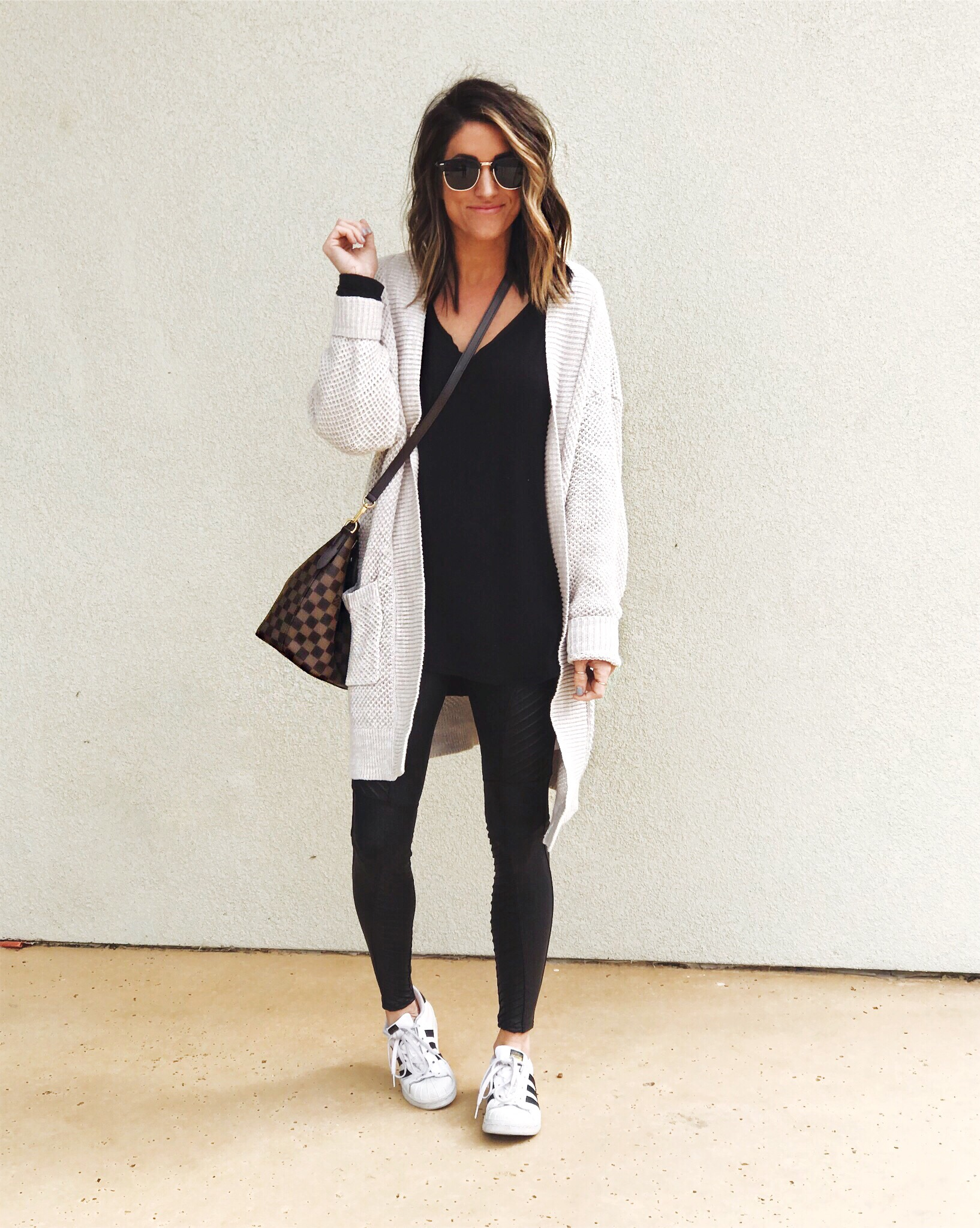Adidas, cardigan, leggings outfit