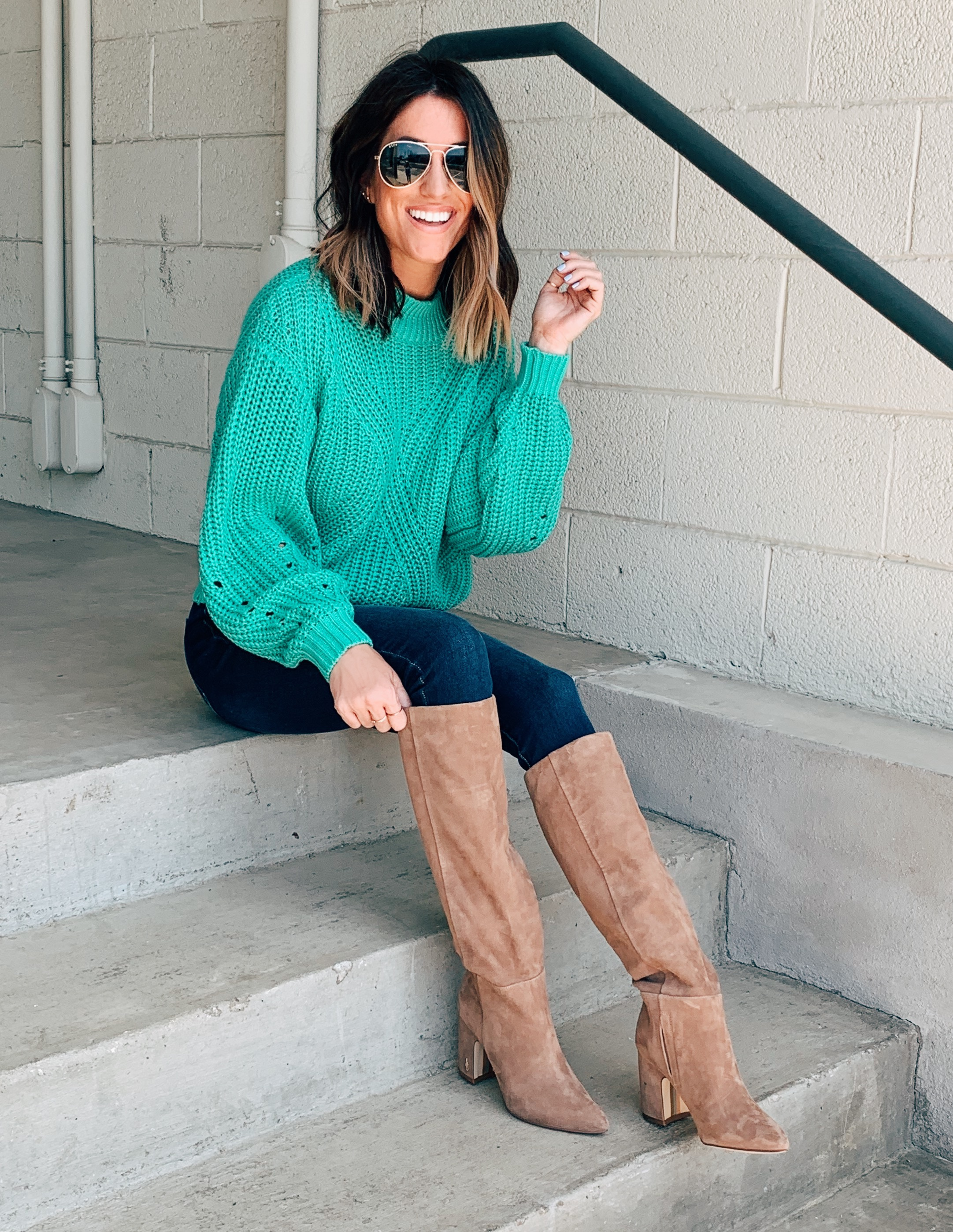 Nordstrom Anniversary Sale outfit sam edelman hiltin knee high praline suede boots BP. traveling stitch sweater
